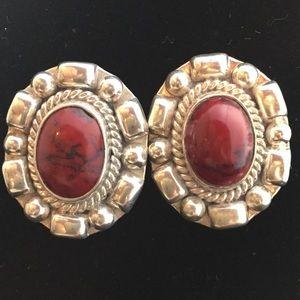 Jewelry - Sterling Silver & Jasper Earrings - Pierced